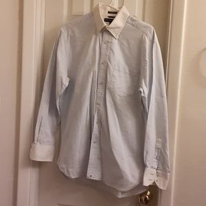Tommy Hilfiger sz M white blue 80s 2 ply fabric